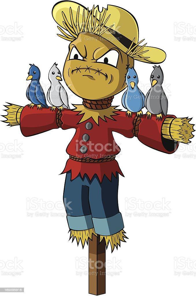 Grumpy Scarecrow cartoon character  with birds royalty-free grumpy scarecrow cartoon character with birds stock vector art & more images of anger