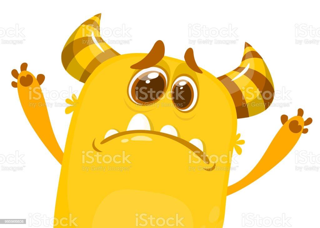 Vetores De Desenhos Animados Rabugento Monstro Chateado Caractere De Halloween Para O Cartaopostal Imprimir Adesivo Ou Decoracao E Mais Imagens De Acenando Istock