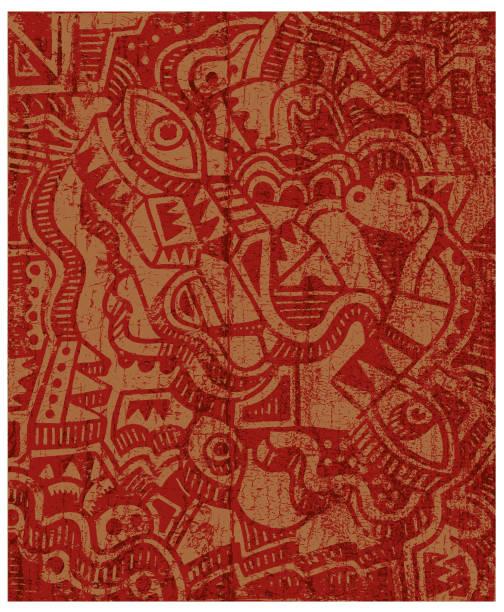stockillustraties, clipart, cartoons en iconen met grunge abstracte het schilderen illustratie - tribale kunst