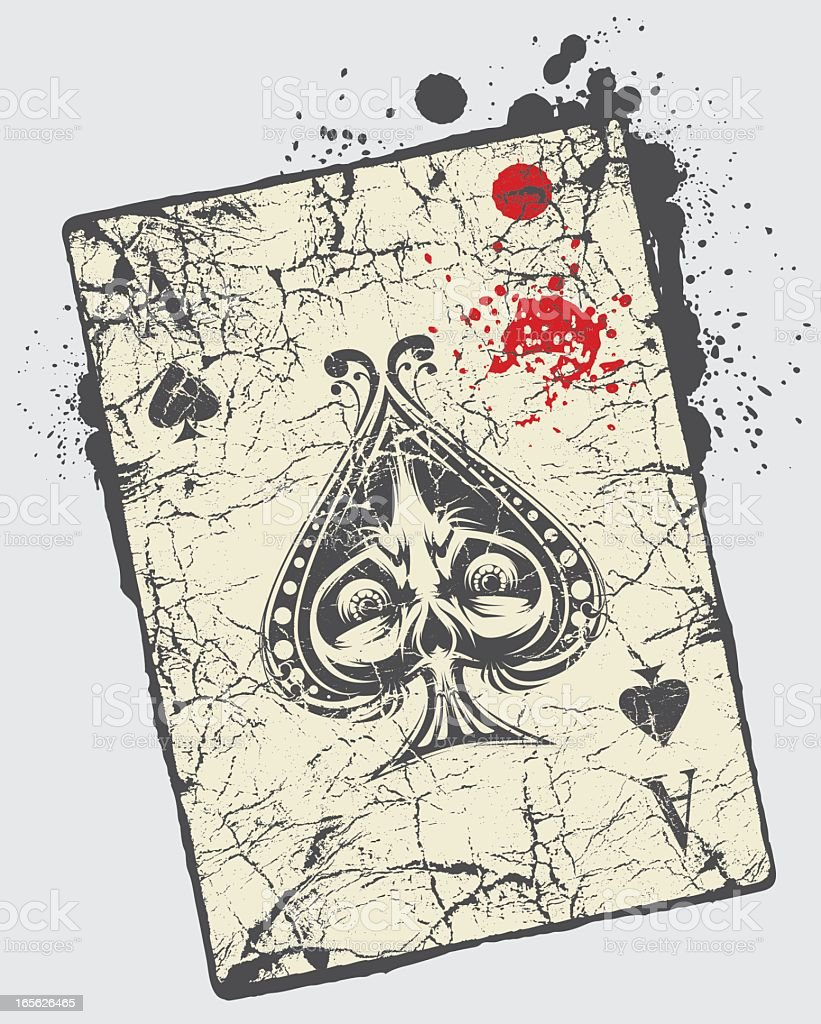 Grunge ace of spades card with black ink splatters royalty-free grunge ace of spades card with black ink splatters stock vector art & more images of ace