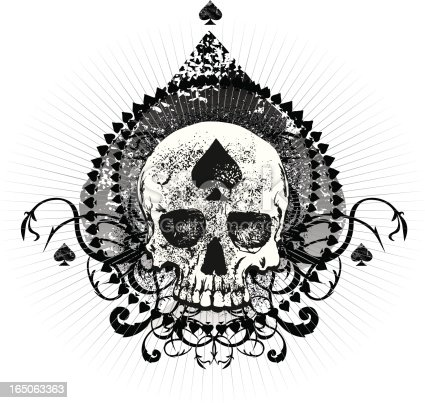 Grunge Ace Of Spades Skull Stock Vector Art & More Images
