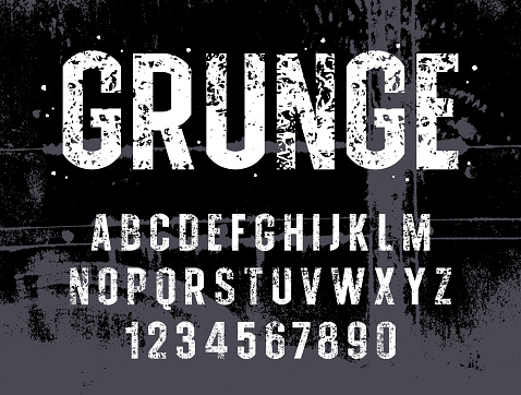 Shabby textured typeface. Vector handmade alphabet. Stamp style uppercase letters and numbers. Grunge textured font. Vectors