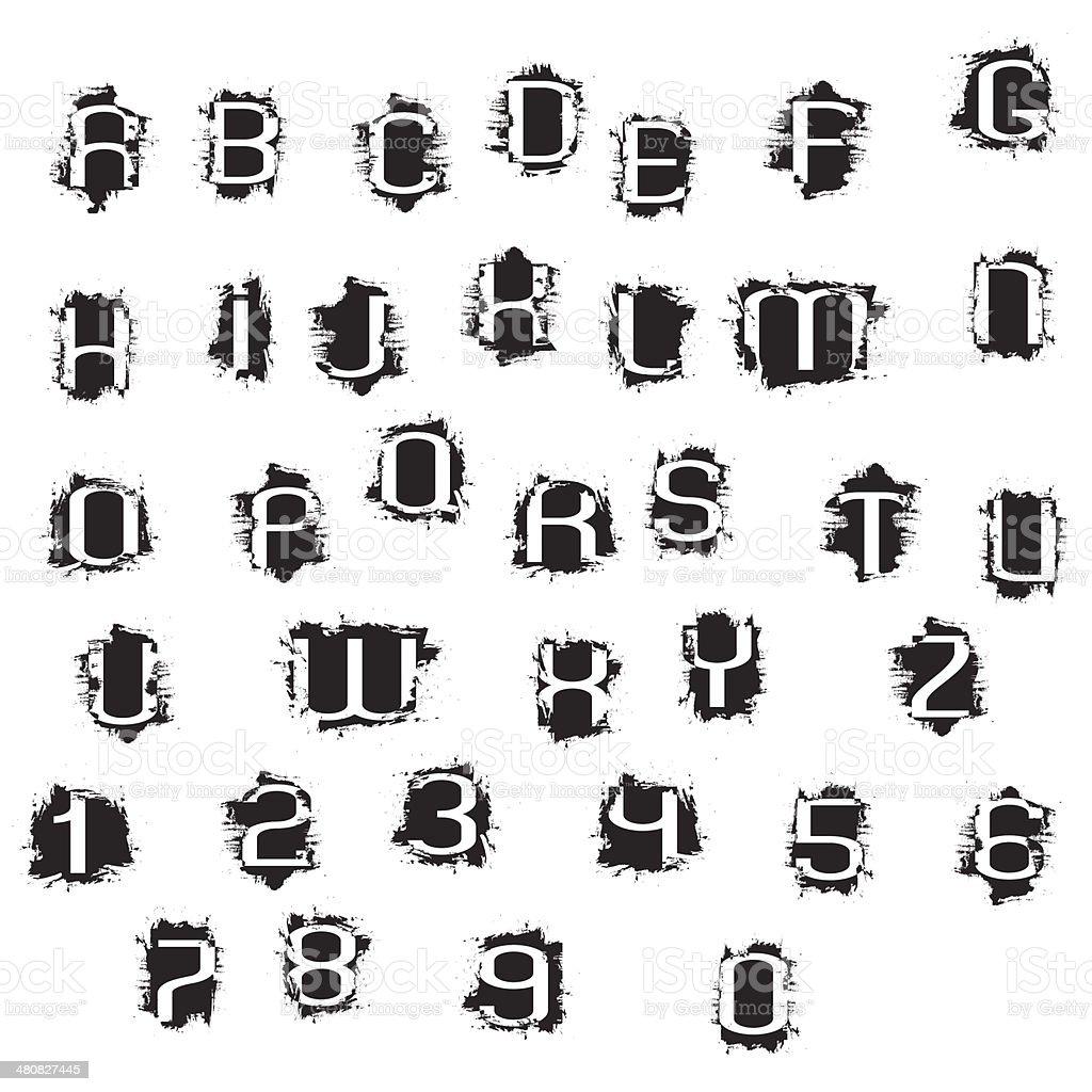 Grunge Alphabet Letters And Numbers Stock Illustration ...