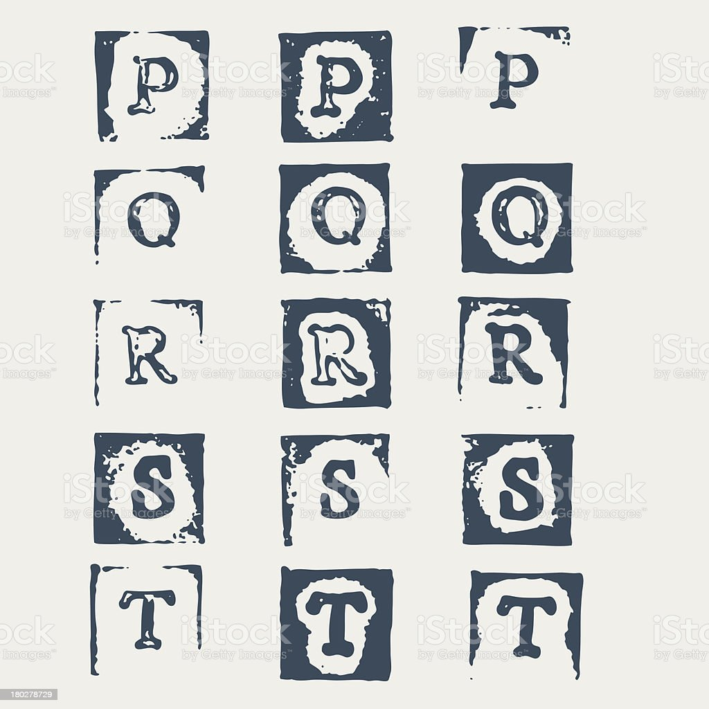 Grunge alphabet P-T. 3 versions of each letter royalty-free stock vector art