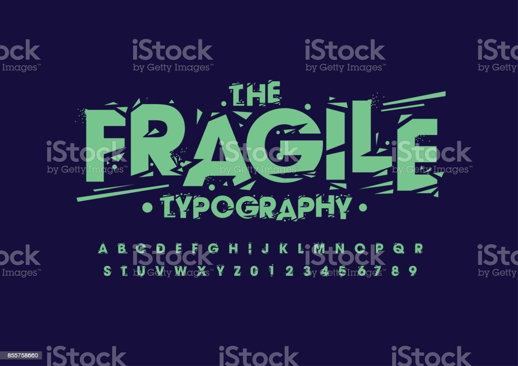 Grunge alphabet vector art illustration
