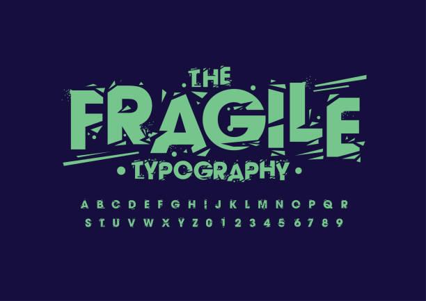 stockillustraties, clipart, cartoons en iconen met grunge alfabet - gebroken