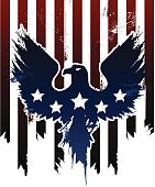 Grunge American eagle in American flag design