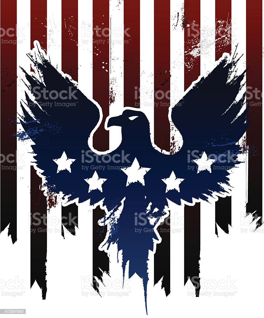 Grunge American eagle in American flag design vector art illustration
