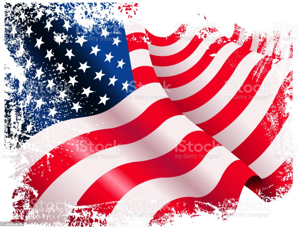 grunge american flag vector art illustration