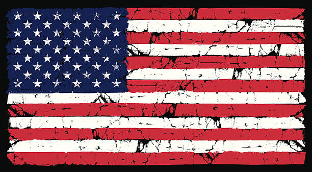 Grunge American Flag  distressed american flag stock illustrations