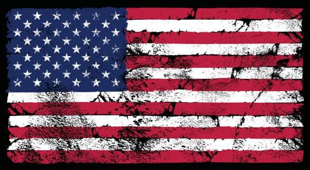 ilustrações, clipart, desenhos animados e ícones de bandeira americana grunge - exposto ao tempo