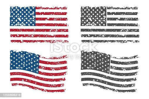 Grunge American flag vector set.