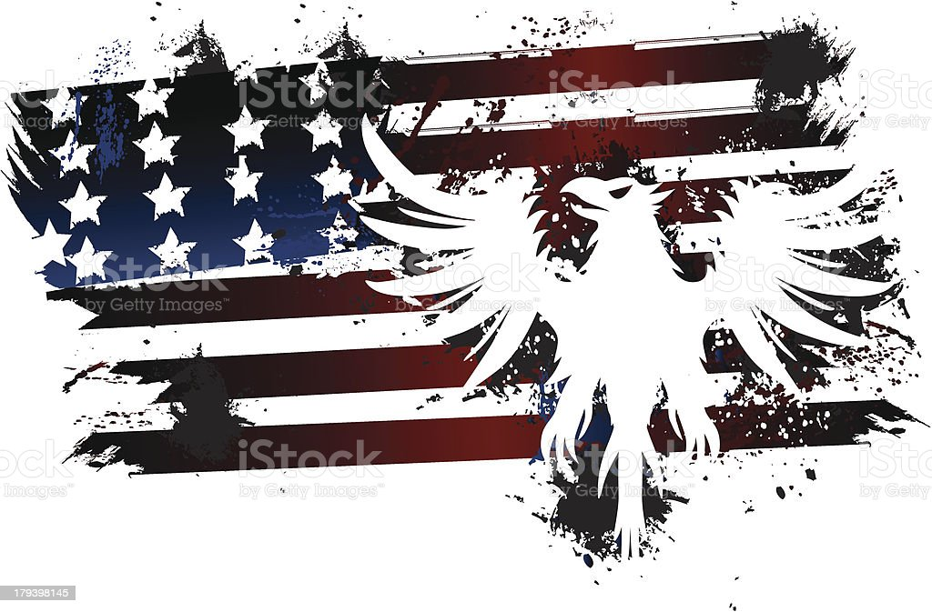 Grunge American Flag with Eagle vector art illustration