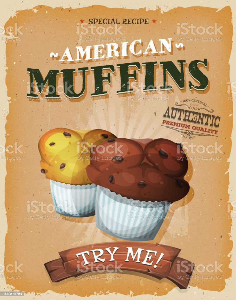 Grunge And Vintage American Muffins Poster Royalty Free Stock