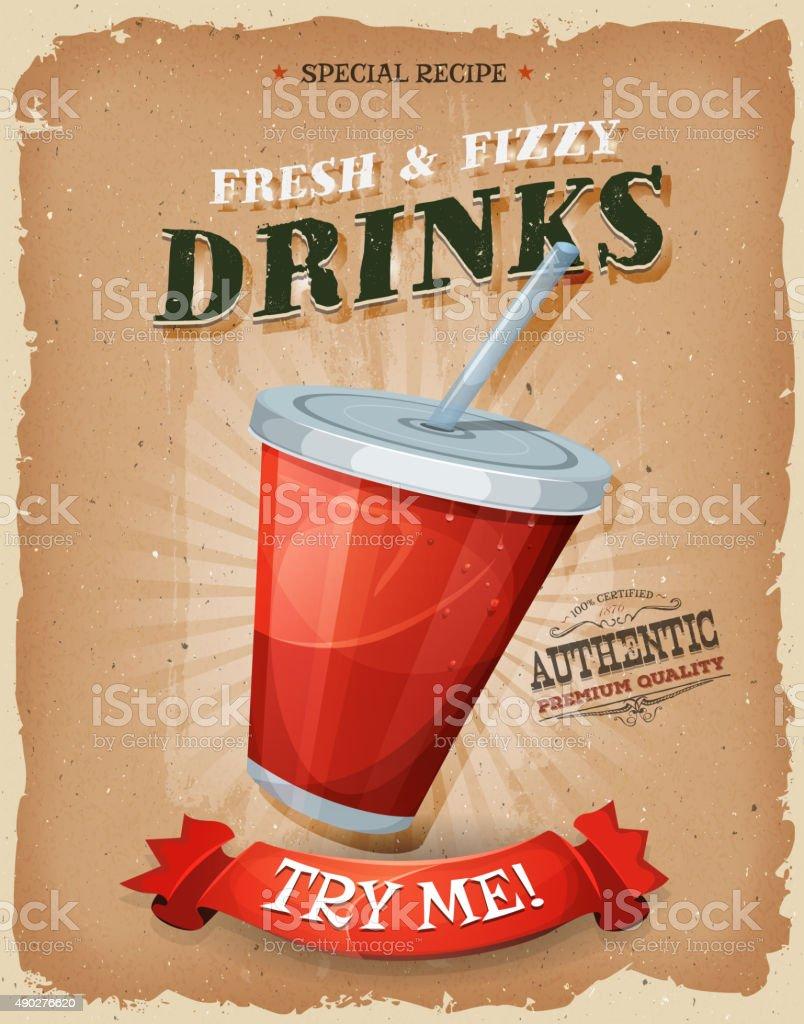 Grunge e drink e bevande Poster Vintage - illustrazione arte vettoriale
