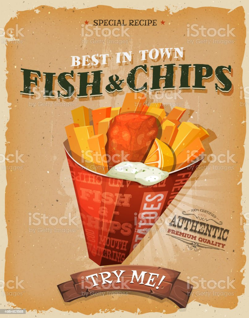 Grunge And Vintage Fish And Chips Poster vector art illustration
