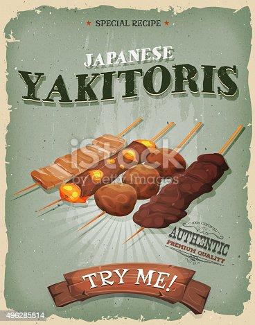 Vector illustration of a design vintage and grunge textured poster, with appetizing asian yakitori skewers, chicken, grilled beef and cheese for asian takeout menu. File is EPS10 and uses multiply and overlay transparency. High resolution jpeg file and vector eps included.