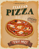 Vector illustration of a design vintage and grunge textured poster, with appetizing italian pizza, for fast food snack and takeaway menu. File is EPS10 and uses multiply and overlay transparency. High resolution jpeg file and vector eps included.