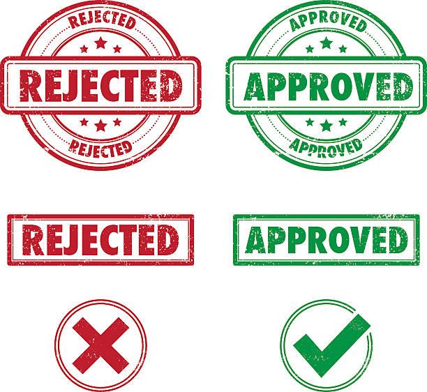 Grunge Approved Rejected rubber stamps vector art illustration