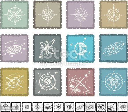 Selection of hand drawn grunge compass icons in grunge frames.  Black has white knocked out.