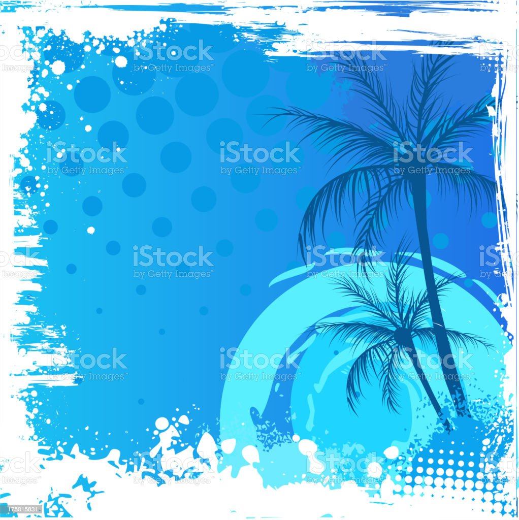 Grunge backgound with palm trees royalty-free stock vector art