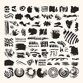 Hand drawn vector brushes and grunge textures. Artistic collection of chalk strokes, paint dabs, smear patterns, ink splatters. Art brushes are included in EPS file. Isolated design elements on white background.