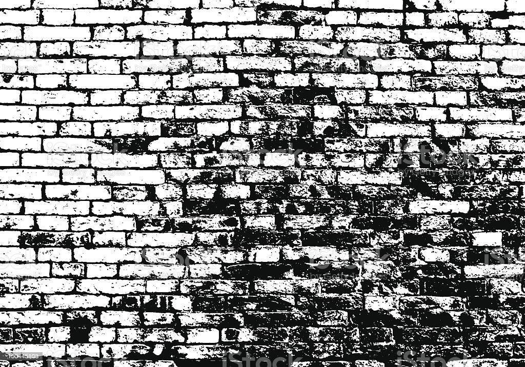 Grunge background in black and white with a brick pattern vector art illustration