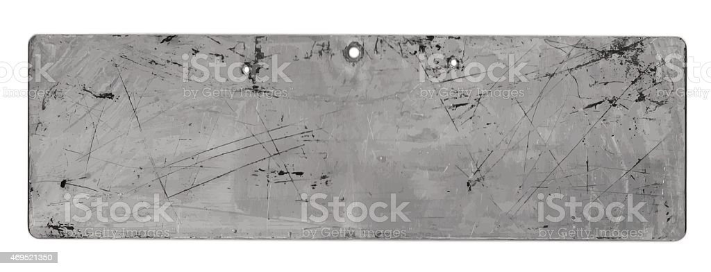 Grunge background: Scratched metal sign in grayscale vector art illustration