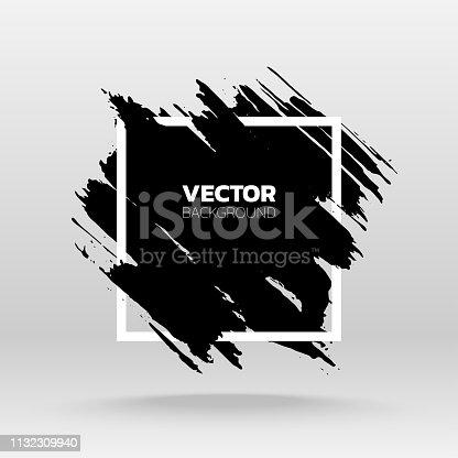 Brush black paint ink stroke over square frame. Vector illustration