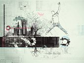 Layered grunge illustration with jumping man, city buildings and technical accents