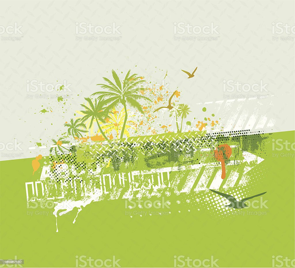 Grunge Background with Palm Trees
