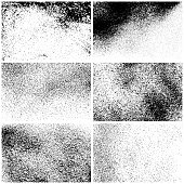 Set of grunge texture backgrounds. One color - black. Set of six different rectangular backdrops. Vector design elements.