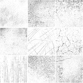Set of square grunge backgrounds. Different materials and variations. One color - black.