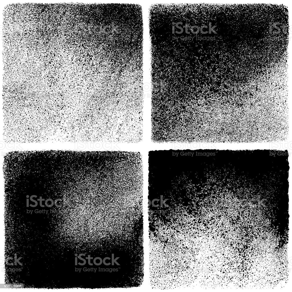 Grunge backgrounds Set of grunge design elements. Black texture backgrounds. Square backdrops Abstract stock vector