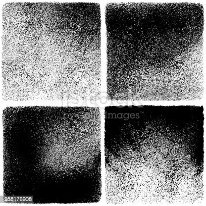 Set of grunge design elements. Black texture backgrounds. Square backdrops
