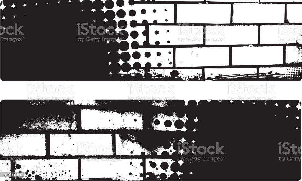 banner de Grunge com fundo de Parede de Tijolo - ilustração de arte vetorial