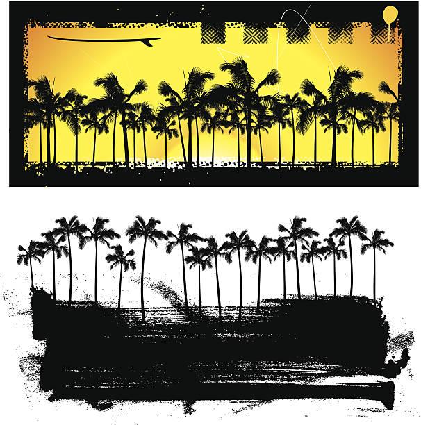 grunge banner mit palmen - graffiti schriftarten stock-grafiken, -clipart, -cartoons und -symbole