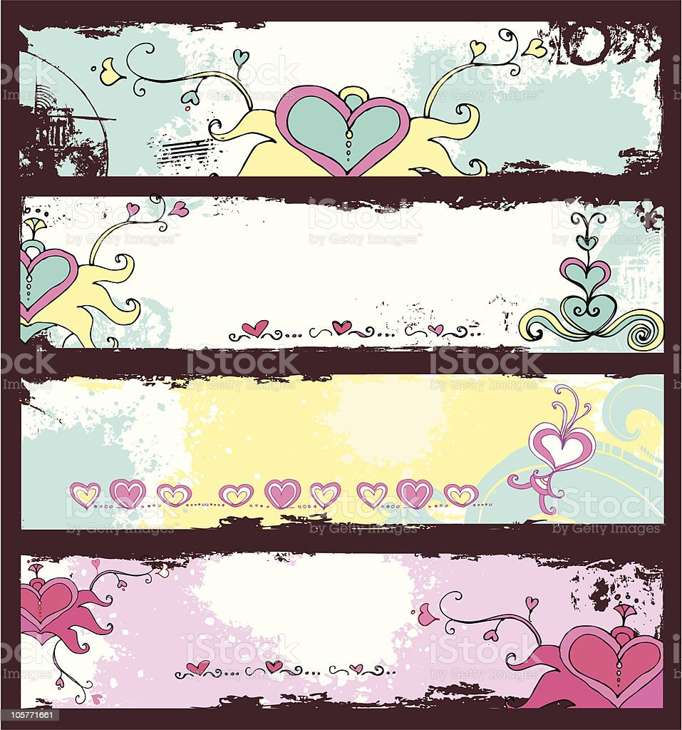 Grunge  banners with hand drawn hearts vector art illustration
