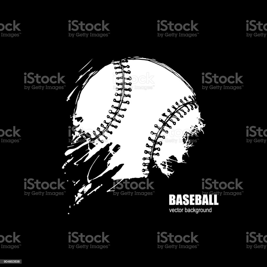 Grunge Baseball ball. vector art illustration
