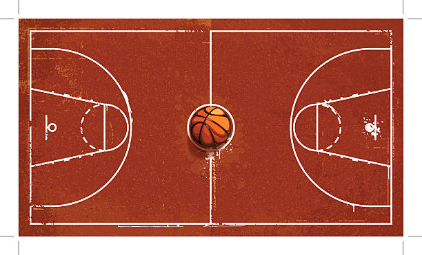 Grunge basketball playground vector art illustration