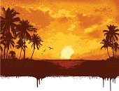 Tropical island grunge background.All elements are separate.File is layered with global colors.Hi res jpeg and AI 10 file with uncropped trees included.More works like this linked below.
