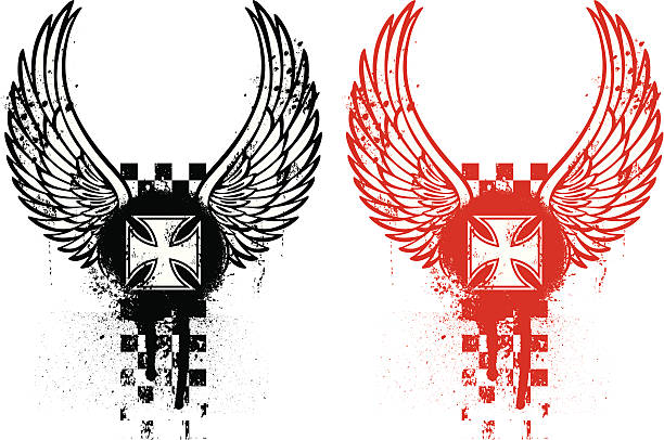 Grunge biker emblem grunge biker emblem red and black maltese cross stock illustrations