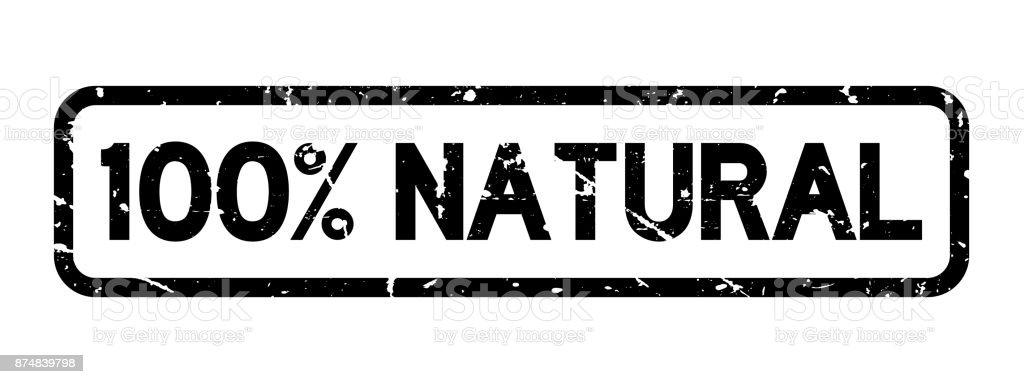 Grunge black 100 percent natural square rubber seal stamp on white background vector art illustration
