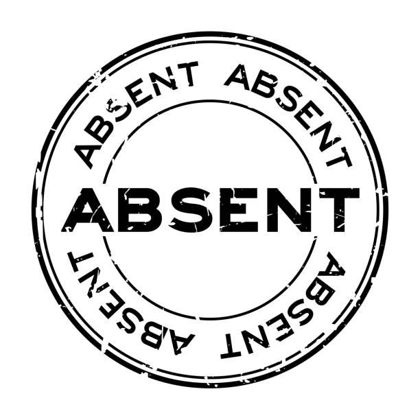 stockillustraties, clipart, cartoons en iconen met grunge zwart afwezig word ronde stempel-zegel op witte achtergrond - absentie