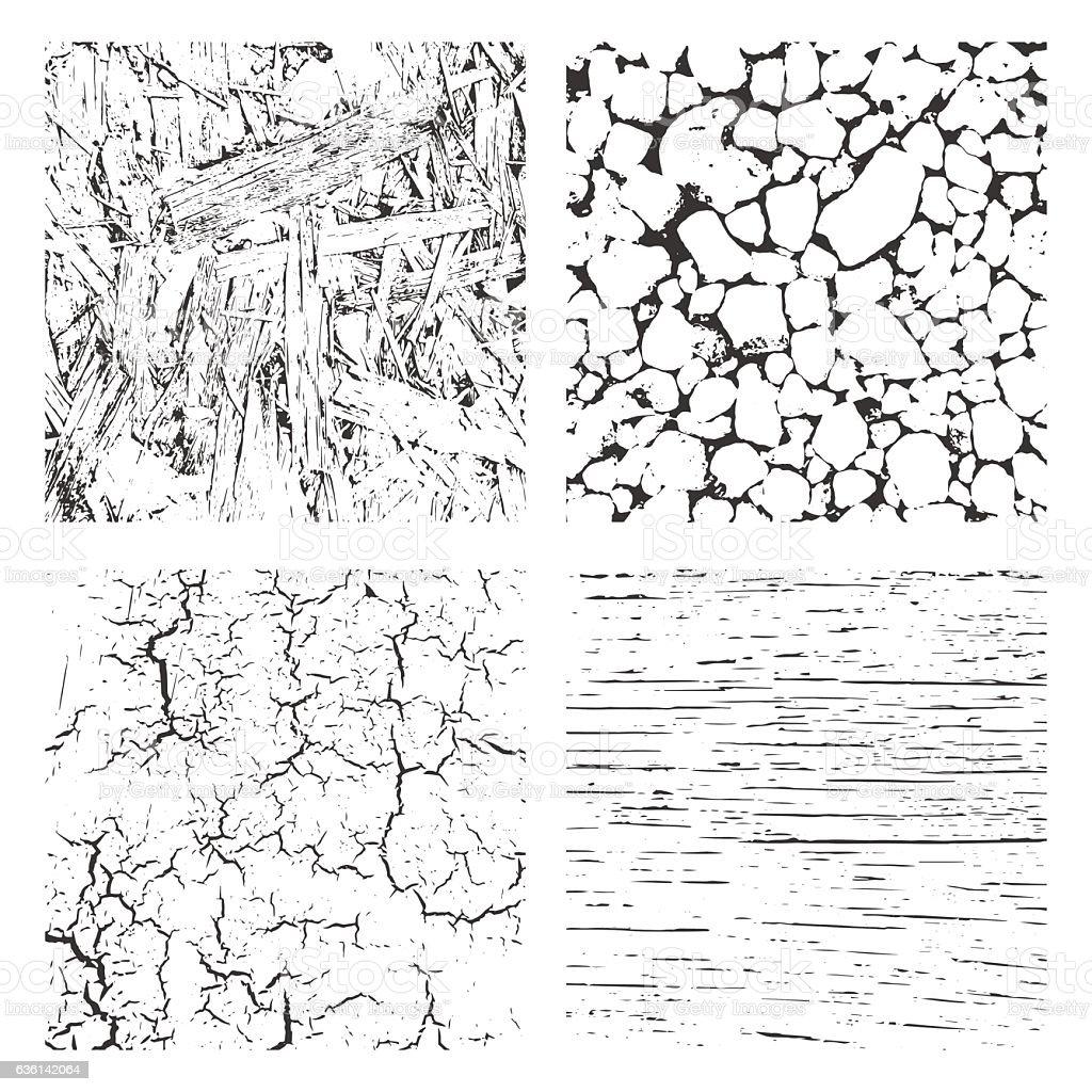 Grunge Black and White Distress Texture . vector art illustration