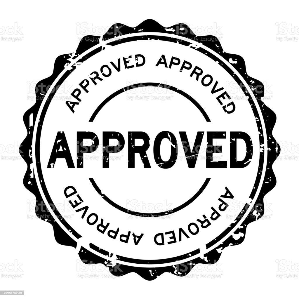 Grunge black approved wording round rubber seal stamp on white background