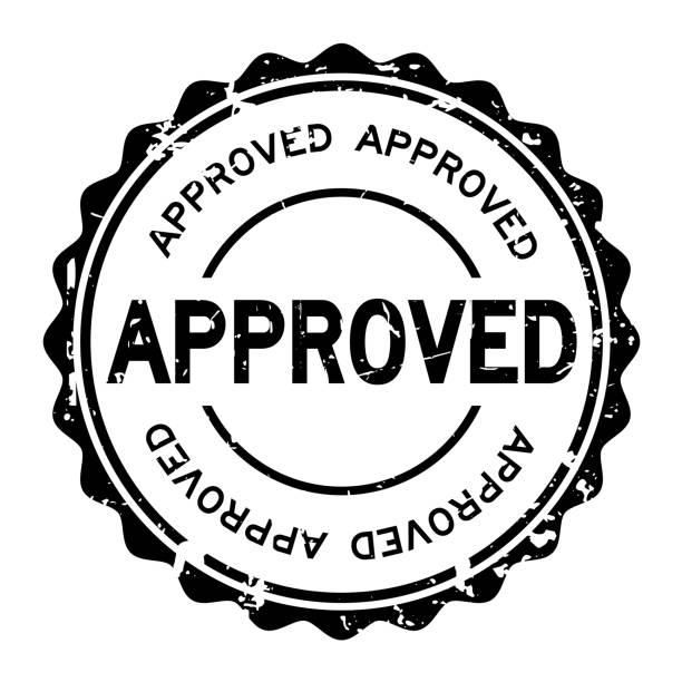 Grunge black approved wording round rubber seal stamp on white background vector art illustration