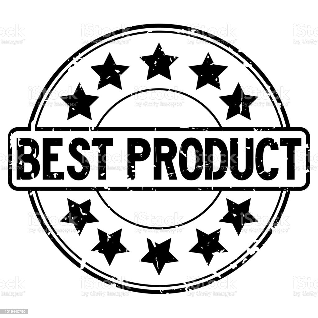 grunge black best product word with star icon round rubber seal