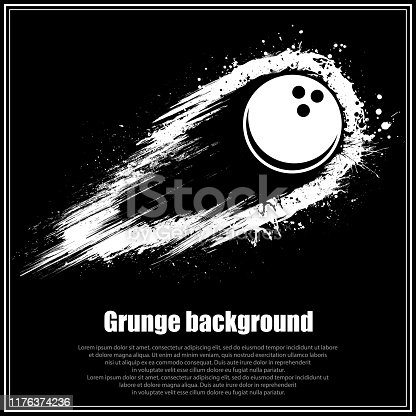 Black background with abstract bowling ball and movement grunge path