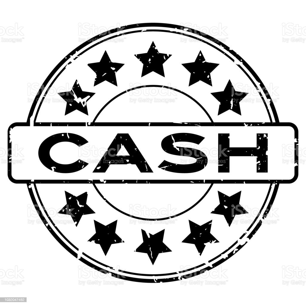 grunge black cash word with star icon round rubber seal stamp on